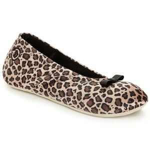 Isotoner Small 5-6 Satin Ballerina Slipper Cheetah